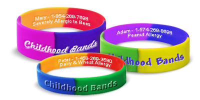 Custom Childhood Allergy Alert Bracelets