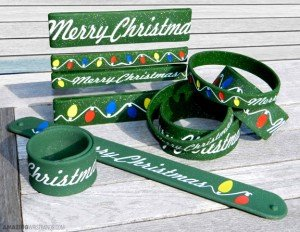 Christmas Wristbands With Glitter Effect