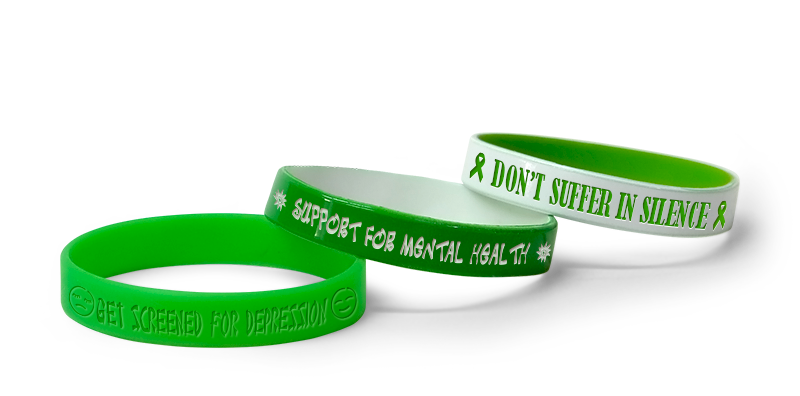 Green Color Mental Health Awareness Wristbands